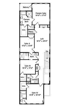 Second Floor Plan of Contemporary   House Plan 74287