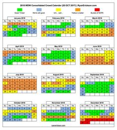 A consolidation of the seven most popular Walt Disney World 2018 crowd calendars into one easy to read and understand calendar. Happy Planning!