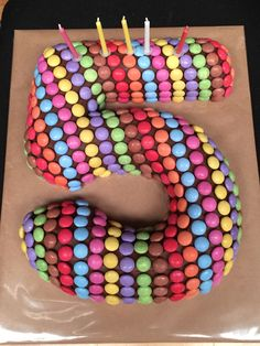 Smarties Birthday chocolate cake 5th number 5