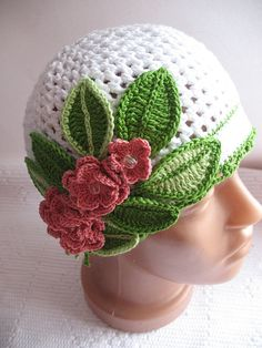 Beanie in White with Three Pink Flower Cotton Crochet by ninellfux, $48.00