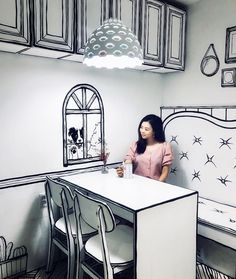 Since a small cafe in South Korea with their creative interior design has been transporting its visitors to a two-dimensional world. Cafe Yeonnam-dong in Seoul features Restaurant Interior Design, Cafe Interior, Korean Cafe, Contour Line, Cafe Wall, Furniture Styles, Furniture Ideas, Unique Colors, Store Design