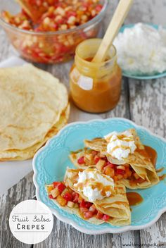 Fruit Salsa Crepes Recipe from The Gunny Sack. These are so delicious and perfect for a spring brunch!