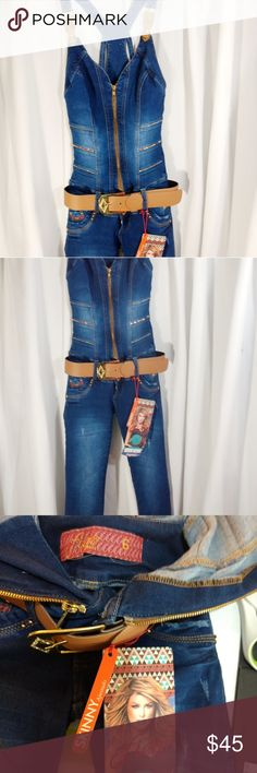 """fiars jeans fiara jeans overalls, gorgeous, NEW, embellished with gold rhinestones, studs, buttons, it's PERFECT. RISE 7"""", Waist 12"""", Inseam 28.5"""", length 44""""(from bottom of bra strap area), ask any questions. Popular in Columbia, probably made there, all tags in Spanish. fiara jeans Jeans Overalls"""