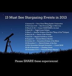 """13 Must see stargazing events of 2013 - would you think it very """"a walk to remember of me"""" if I said I wanted a telescope? Camping 3, Camping Ideas, Camping Hacks, Camping Guide, Camping Stuff, Camping Cabins, Scout Camping, Camping Hammock, Winter Camping"""