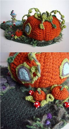 Crocheted Pumpkin House Another amazing amigurumi house by crochet artist, meekssandygirl on Deviantart. This 'hooker' is insanely talented! Crochet Fairy, Crochet Home, Cute Crochet, Crochet Crafts, Crochet Dolls, Yarn Crafts, Crochet Flowers, Crochet Projects, Knit Crochet
