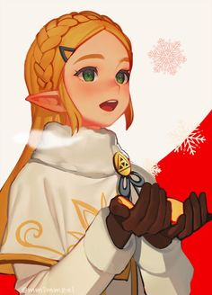 blonde_hair blush christmas earrings gloves green_eyes hairband jewelry long_hair open_mouth pointy_ears princess_zelda santa_costume smile solo the_legend_of_zelda the_legend_of_zelda:_breath_of_the_wild winter_clothes The Legend Of Zelda, Legend Of Zelda Breath, Twilight Princess, Image Zelda, Fantasy Characters, Anime Characters, Anime Manga, Anime Art, Hot Anime