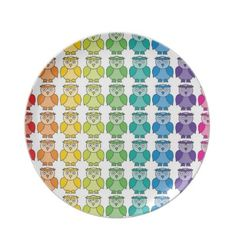 Cute Rainbow Owl Pattern Party Plates $28.10