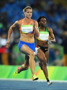 #RIO2016 Dafne Schippers of the Netherlands competes in the Women's 100m Round 1 on Day 7 of the Rio 2016 Olympic Games at the Olympic Stadium on August 12...