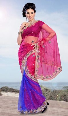 G3 Fashions Pink and BLue Net Embroidered Designer Saree  Product Code : G3-LS11719 Price : INR RS 7272