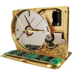 Golden Hard Drive Clock Custom Painted. A Cool Geek Gadget...from http://TEcoArt.com