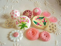 Pretty pink vintage buttons.