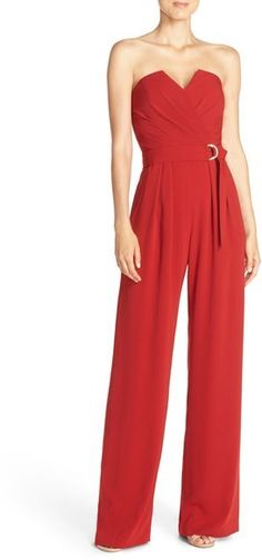 Red Strapless Jumpsuit. Elegant and sexy