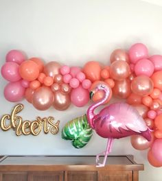 Flamingo Baby Shower Decorations - Flamingo Balloon Garland - Pretty Collected - Want to make this flamingo balloon garland for our baby shower! Such a cute summer baby shower idea - Flamingo Baby Shower, Flamingo Birthday, Birthday Balloons, Birthday Parties, Pink Flamingo Party, 7th Birthday, Pool Party Decorations, Baby Shower Decorations, Balloon Arch