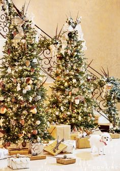 Kaley Cuoco Christmas Design by Jeff Andrews | I've always loved the idea of multiple trees!