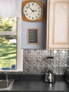 Pretty walls.  Love the backsplash.  5 Fun Kitchen DIY Weekend  Projects