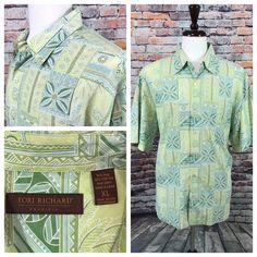 2ce368a9 Tori Richard men's short sleeve button front Hawaiian Floral 70% Silk Shirt  XL | eBay