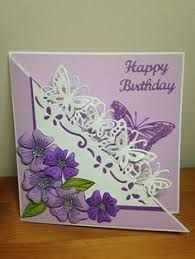 Risultati immagini per diesire floral dance kaarten Handmade Birthday Cards, Happy Birthday Cards, Greeting Cards Handmade, Fancy Fold Cards, Folded Cards, Crafters Companion Cards, Purple Cards, Spellbinders Cards, Anna Griffin Cards