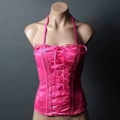 Hot Pink Ruffle Trim Lace-Up Western Sexy Corset Bustier Halter Top