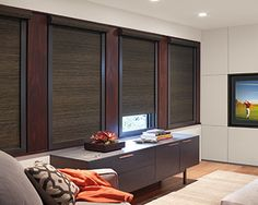 Hunter Douglas Roller Shades / Roller Blinds - Harmony - Great living room ideas for your window coverings. Blackout shade when down, but lets in as much light as you want as you open. Textured fabrics - sheers, opaques, solid colors and floral patterns available. See more roller blind ideas on our site.