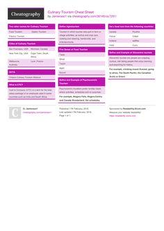 Culinary Tourism Cheat Sheet by Jamieraso1 http://www.cheatography.com/jamieraso1/cheat-sheets/culinary-tourism/ #cheatsheet #