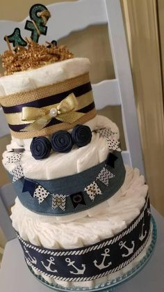 Nautical Diaper Cake with Burlap Navy Double Faced Satin