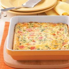 California Egg Bake Recipe   Taste of Home Recipes Definitely want to try this....maybe with Greek yogurt instead of sour cream?
