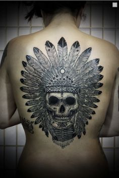 David Hale - skull with feather headdress tattoo...how cool would this be with a little bit of color in the feathers?! Really freaking cool, that's what!