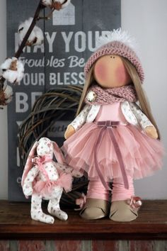 Handmade fabric doll, custom made decorative doll, rag doll