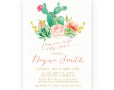 Bridal Shower Invitation Succulent Watercolor by KirraReynaDesigns