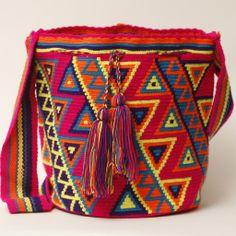 Guajira Mochila Bag – WAYUU TRIBE | Handmade Bohemian Bags Form Crochet, Crochet Art, Tapestry Crochet, Mochila Crochet, Crotchet Patterns, Tapestry Bag, Crochet Purses, Knitting Accessories, Knitted Bags