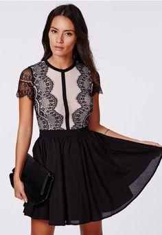 Arjean Black Lace Eyelash Puff Ball Dress - Dresses - Skater Dresses - Missguided