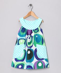 Take a look at this Blue & Green Retro Circle Pocket Yoke Dress - Toddler & Girls by SILLY MILLY on #zulily today!
