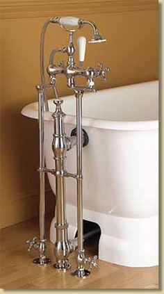 Floor Mounted Clawfoot Tub Faucet With Diverter And Hand Shower