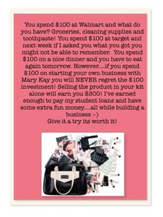 Mary Kay starter kit. Just $100 could change your life! http://www.marykay.com/sherrimoeller sherrimoeller@marykay.com
