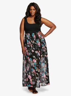 Plus Size Floral Print Tank Maxi Dress
