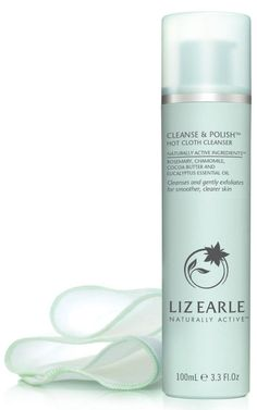 liz earle cleanse and polish bottle and muslin