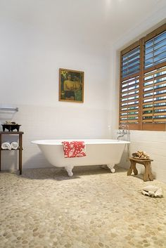 Pebble floors - luv this for the bathroom!!
