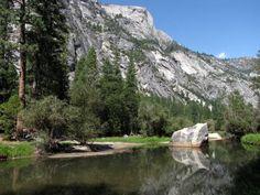 Mirror Lake on Tenaya Creek in Yosemite Valley, Yosemite National Park, California, USA.