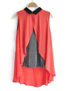 Red Sleeveless Contrast Cami Chiffon Dipped Hem Split Back Shirt