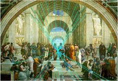 """Raphael """"School of Athens"""" with Perspective Lines, (1509–1511)"""