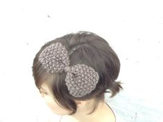 taupe handknit bow by KnitPrayLove on Etsy, $10.00
