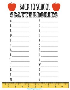 Back to School Scattergories free printable  #game #family #kids