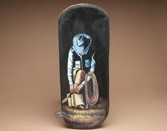 """A wide selection of beautiful hand-painted wooden bowls. Hand Painted Rustic Wooden Bowl 24"""" -Cowboy"""