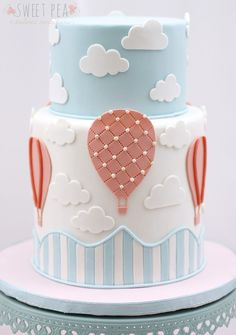 Hot Air Balloon Themed Baby Shower #themedcakes