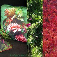 Coussin carré, nouvelle série, « Quand la Compagnie coud les photos de Sophie » 40 x 40 cm – rempli et déhoussable : Textiles et tapis par lacompagniedupatchwork