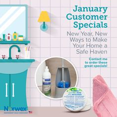 Norwex USA January Customer Specials. Monthly specials are updated the first of each month at: http://norwex.biz/en_US/specials-and-sales