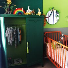 J U N G L E. Inspired by a wooden banana plant, Ari Basil's room is finally complete! So much fun in one room! Cupboard painted in Annie slogans chalk paint Antibes and Amsterdam green. The cot was painted with Barcelona Orange, Design and Styling by Lara Meghann from Full House Designs. Australia