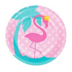 4e949312d Pink flamingo party plates featuring a pink flamingo illustration and  turquoise palm tree, ideal for