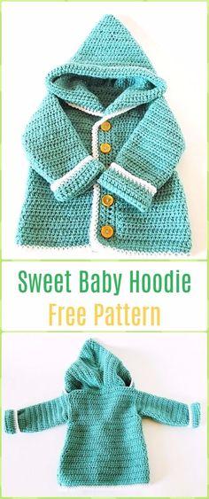 Ideas For Crochet Baby Hoodie Pattern Boys Sweaters Crochet Jacket Pattern, Crochet Baby Jacket, Crochet Coat, Hoodie Pattern, Crochet Bebe, Crochet Girls, Crochet Baby Clothes, Crochet For Kids, Crochet Cardigan