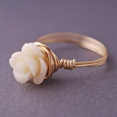 Gold Rose Ring Wire Wrapped Cream Coral Small by georgiedesigns, $28.00